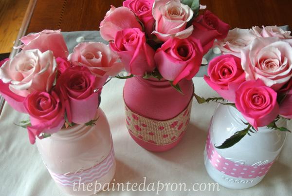ribbon and rose jars thepaintedapron.com