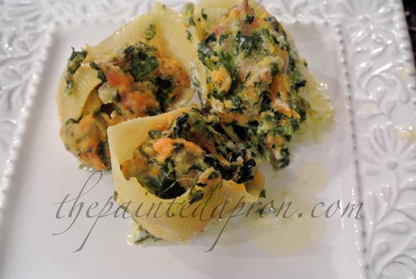 squash, spinach, sausage stuffed shells thepaintedapron.com