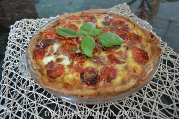 tomato & corn summer quiche thepaintedapron.com
