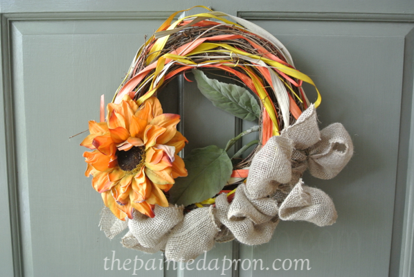 sunflower wreath thepaintedapron.com