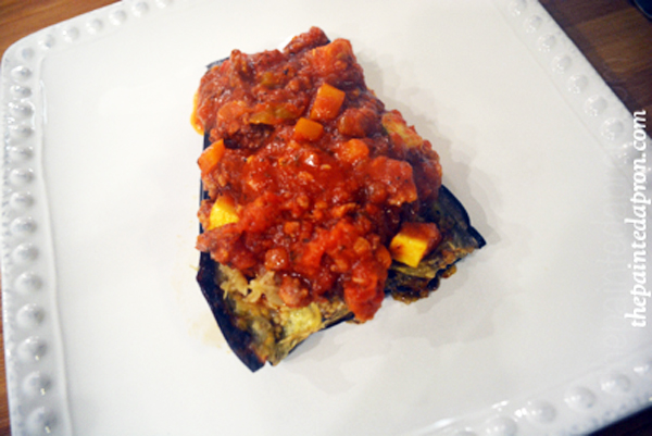eggplant marinara with sausage thepaintedapron.com