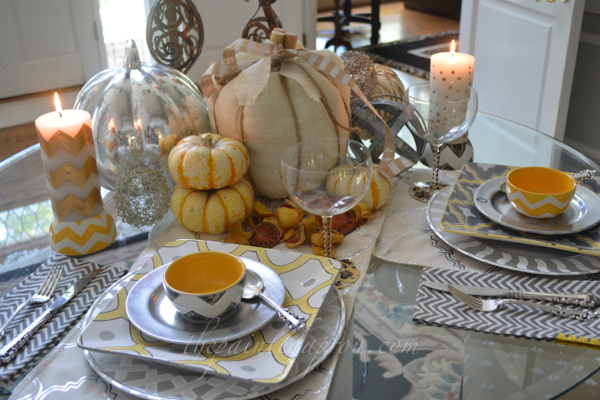 silver and gold fall table thepaintedapron.com