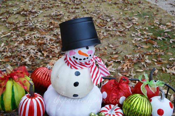 snowman pumpkin thepaintedaporn.com