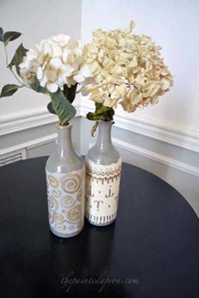 painted bud vase bottles thepaintedapron.com