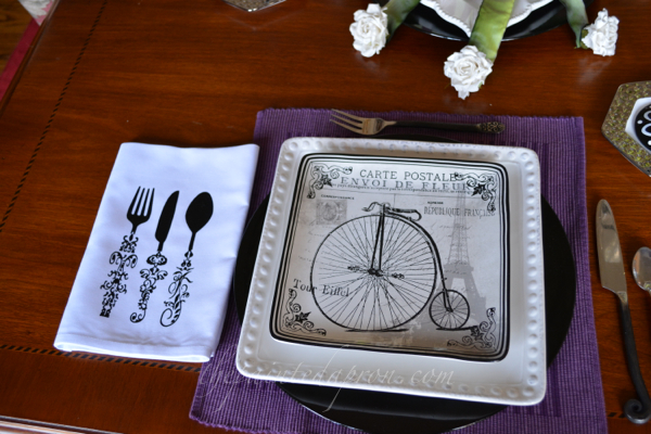 french bicycle place setting thepaintedapron.com