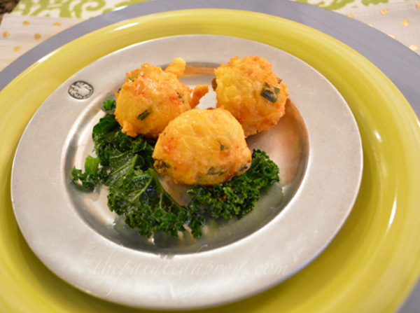 hushpuppies with kale thepaintedapron.com