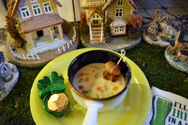 beer cheese soup with lucky croutons thepaintedapron.com