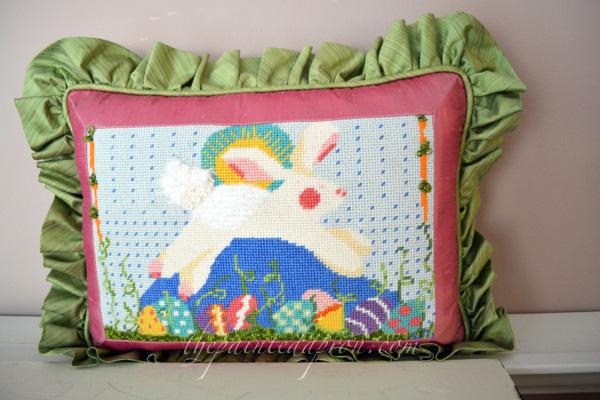 bunny needlepoint pillow 2 thepaintedapron.com
