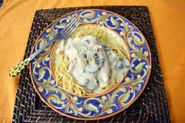 chicken with Sherried Mushroom Sauce thepaintedapron.com