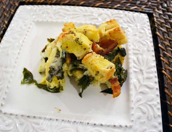 strata with swiss chard and bacon thepaintedapron.com