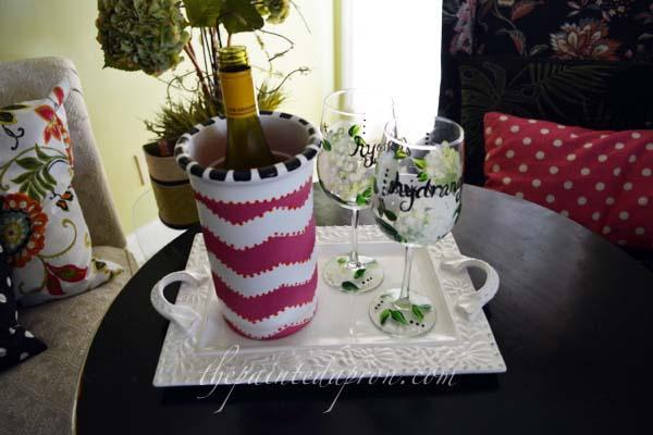 wine cooler with chevron stripes thepaintedapron.com