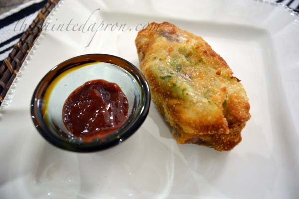 BBQ eggrolls with BBQ dipping sauce thepaintedapron.com