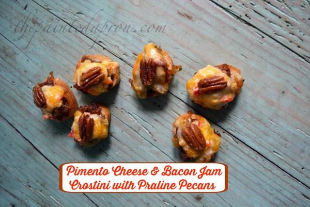 pimento cheese and bacon jam crostini with praline pecan thepaintedapron.com