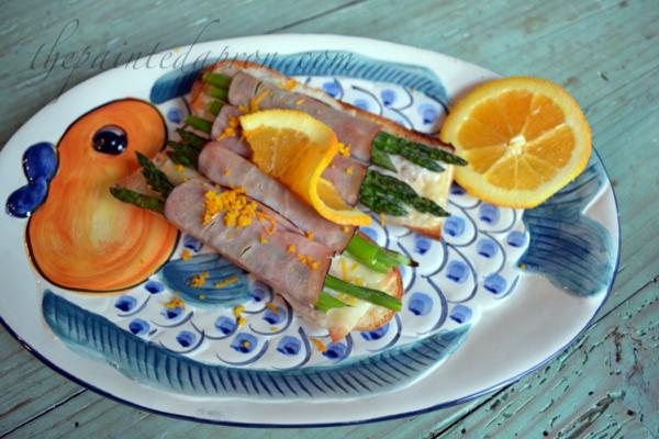 ham and aspargus rolls with orange thepaintedapron.com