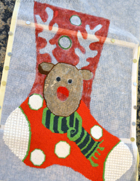 rudolf needlepoint stocking 1 thepaintedapron.com