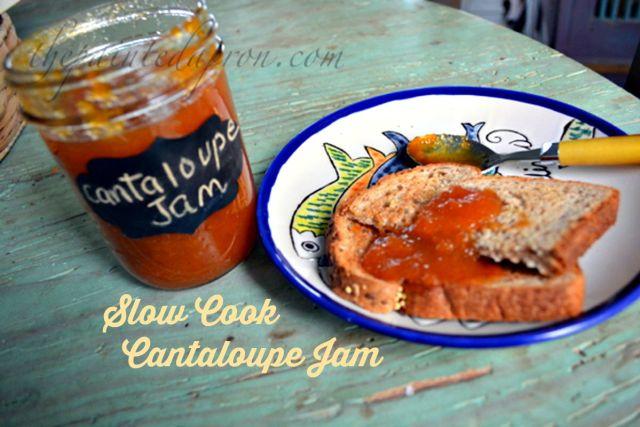 slow cook cantaloupe jam thepaintedapron.com