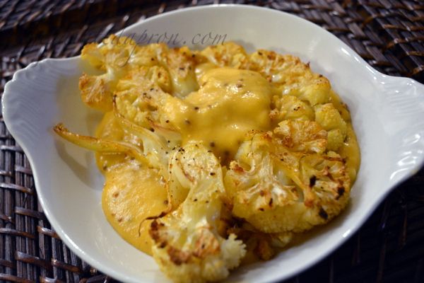 roasted cauliflower with cheese thepaintedapron.com