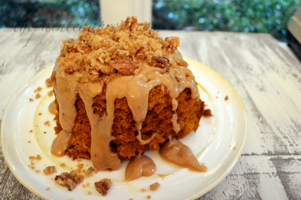 Whoops cake with caramel and praline pecans thepaintedapron.com