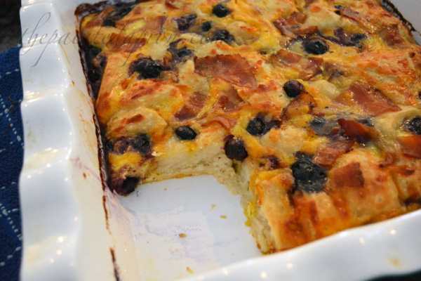 blueberry bacon biscuit bake thepaintedapron.com