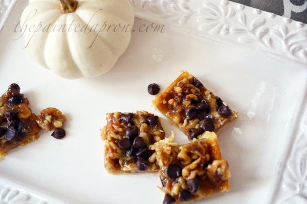 chocolate walnut bars thepaintedapron.com
