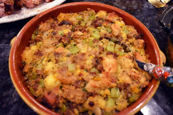 focaccia, cornbread and sausage dressing