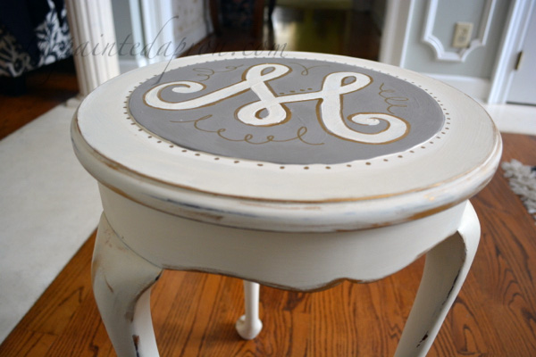 gold trimmed side table