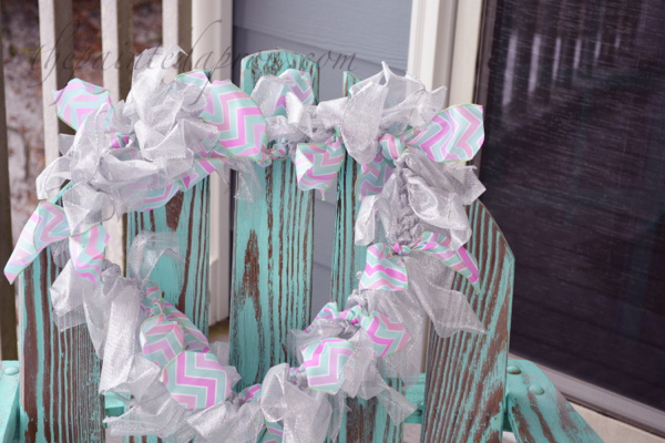aqua and pink heart wreath