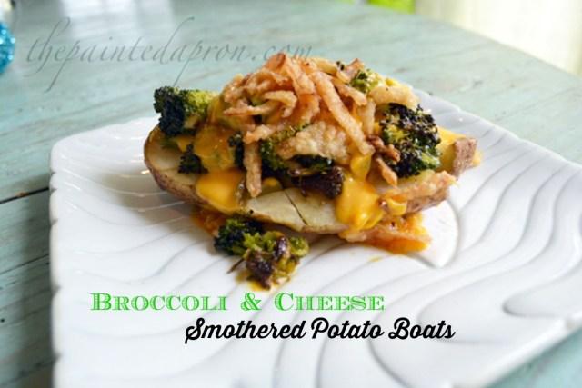broccoli topped smashed potato