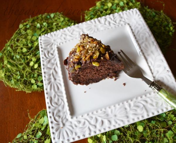 chocolate ganache cake slice