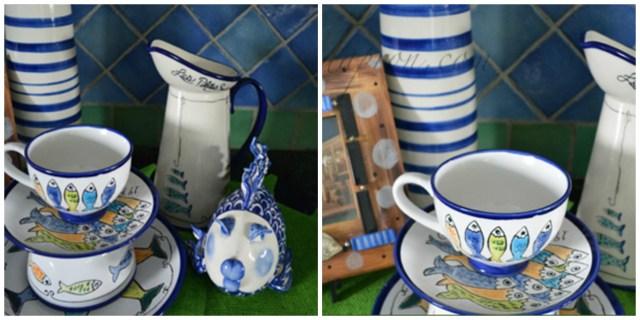 fishy dinnerware stack collage