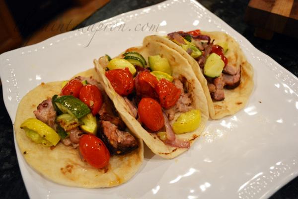 pork BBQ tacos with vegetable salsa