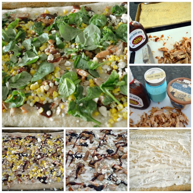 BBQ chicken pizza collage