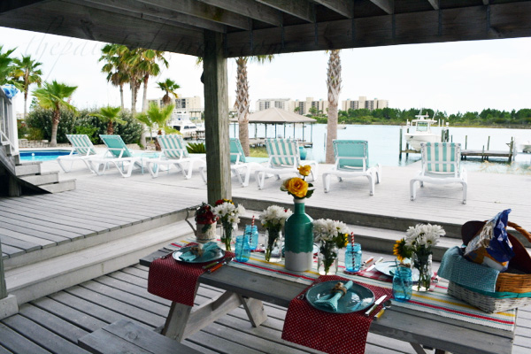 picnic on the pool deck