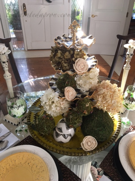 white roses and hydrangea centerpiece