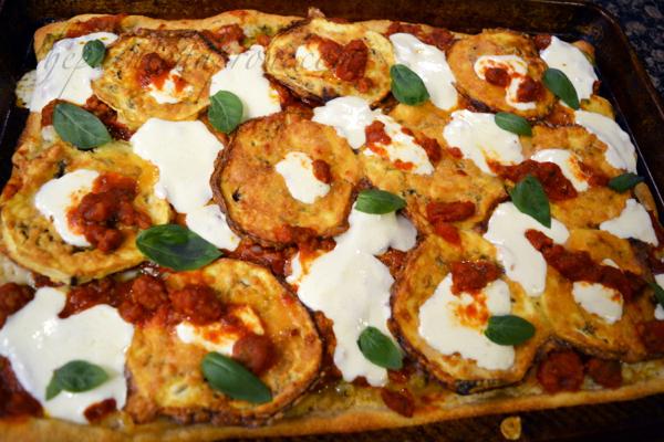 eggplant-parmigiana-pizza-with-sausage-basil