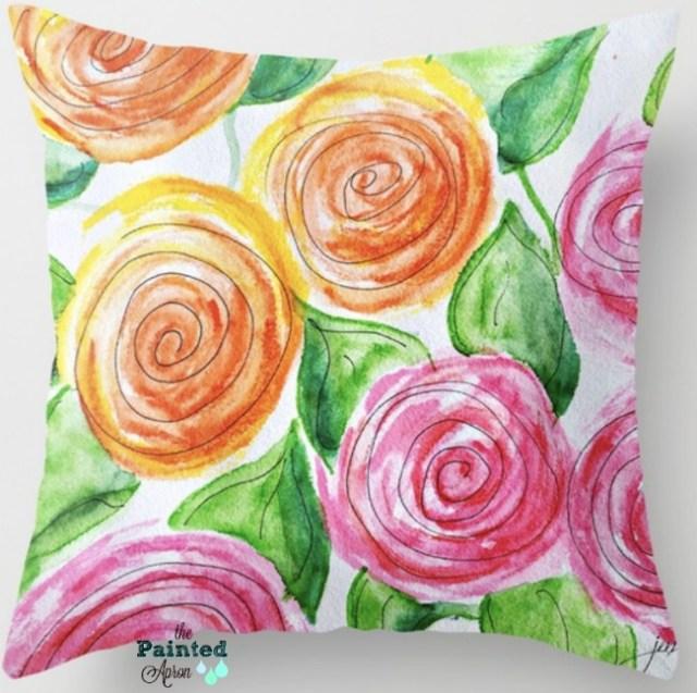 lollipop roses pillow