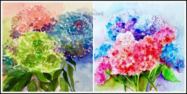 watercolor hydrangeas