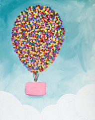 This painting is perfect for a kids painting party. Glitter is incorporated in the painting for an added fun element!