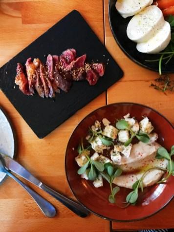 beef tataki + feta cheese and lemon spread