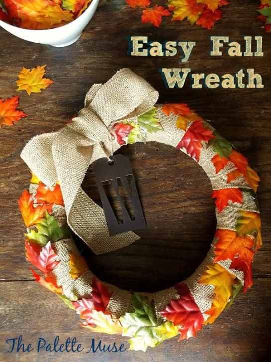 Easy Fall Wreath, make it in minutes, with no sewing and no glue!