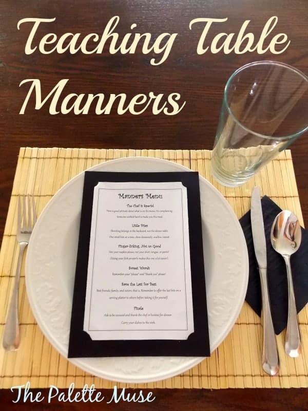 Teaching Table Manners using the Manners Menu - thepalettemuse.com