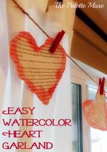 Easy Watercolor Heart Garland