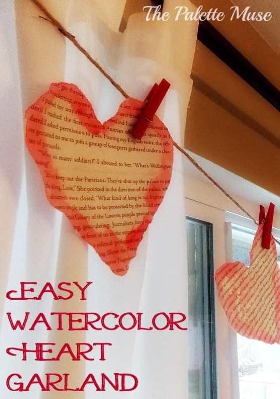 Easy Watercolor Heart Garland