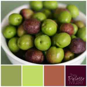 Olive palette with greens and reds from The Palette Muse