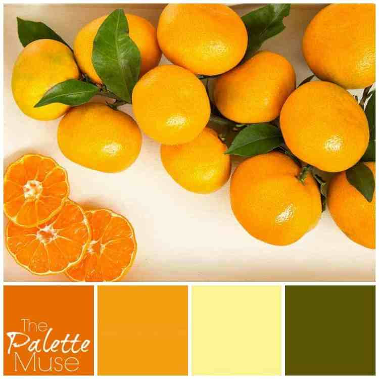 This summery palette blends lively orange hues with a grounded green.