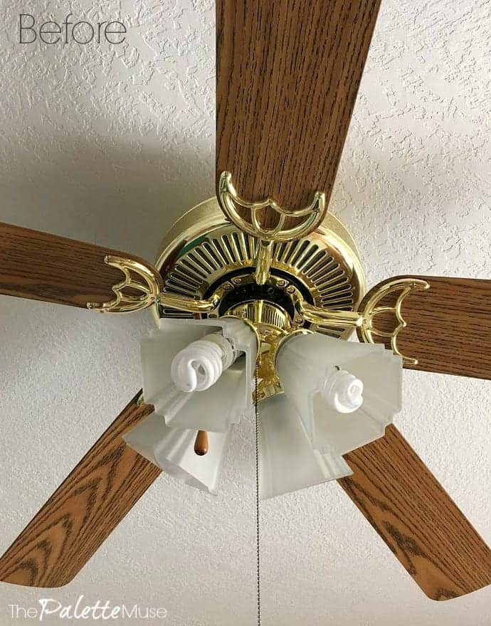 This ceiling fan is about to get a full makeover, all without removing it from the ceiling!