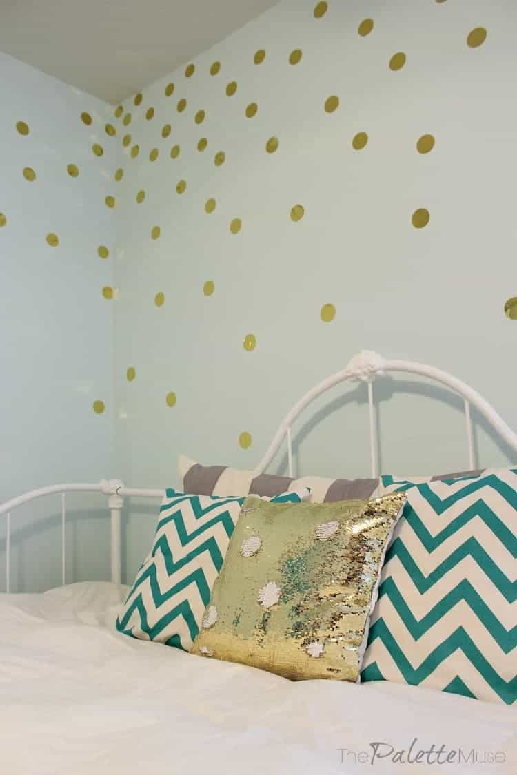 This gold polka dot wall treatment was so easy and cheap!