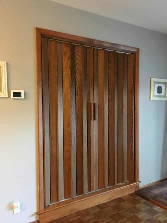 Dated accordion doors closed