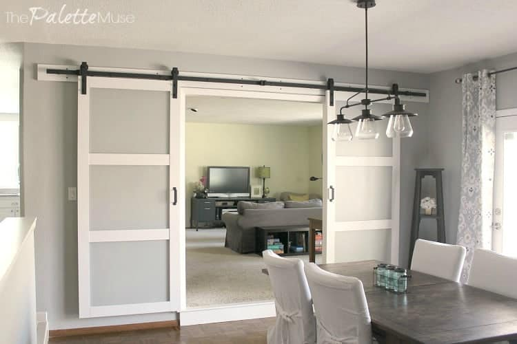 Double Barn Doors between the den and dining room
