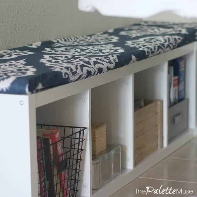 IKEA Kallax shelves get an easy makeover into a storage bench for my breakfast area